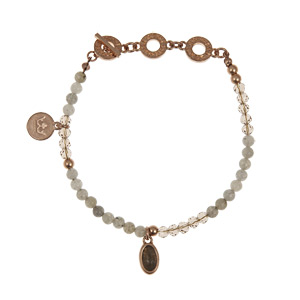 Sence Copenhagen Be Happy Bracelet Labradorite Worn Rose Gold