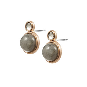 Sence Copenhagen Be Happy Earrings Labradorite Worn Rose Gold