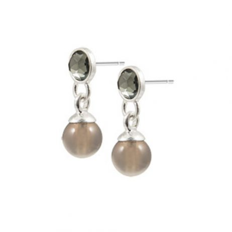 Sence Copenhagen Be Sparkling Earrings Grey Agate Worn Silver