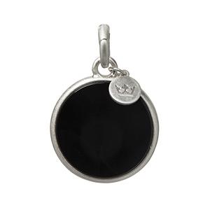 Sence Copenhagen Disc Charm Black Agate Worn Silver