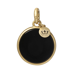 Sence Copenhagen Disc Charm Black Agate Worn Gold