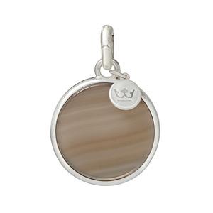 Sence Copenhagen Disc Charm Grey Agate Worn Silver