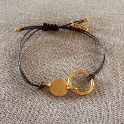 Hultquist Jewellery Gold Coin Urban Luxe Brown Cord Bracelet