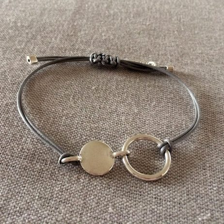 Hultquist Jewellery Silver Coin Urban Luxe Grey Cord Bracelet - EOL