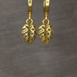 Hultquist Jewellery Gold Palm Leaf Hoop Earrings Tropical Paradise
