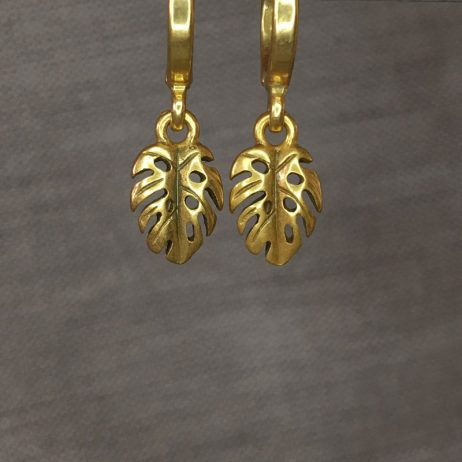 Hultquist Jewellery Gold Palm Leaf Hoop Earrings Tropical Paradise - EOL