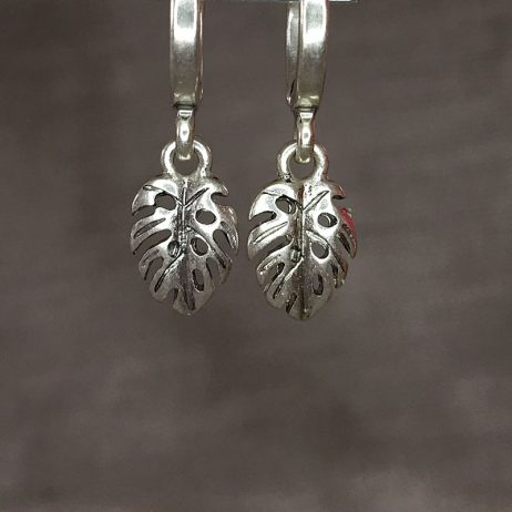 Hultquist Jewellery Silver Palm Leaf Hoop Earrings Tropical Paradise