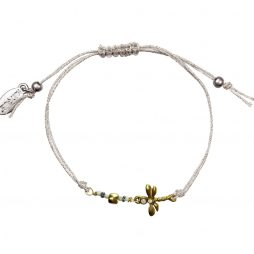 Hultquist Jewellery Dragonfly Silver and Gold Macrame Bracelet