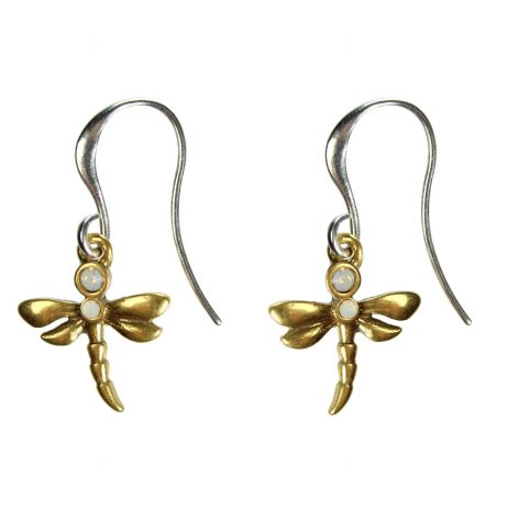 Hultquist Jewellery Dragonfly Silver and Gold Hook Earrings