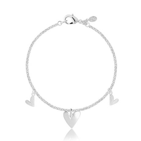 Joma Jewellery Aria Silver Bracelet with 3 Puffed Heart Pendants 2576