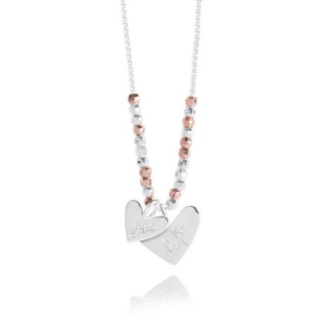 Joma Jewellery Caci Charms Love Life Hearts Necklace Silver and Rose Gold 2617