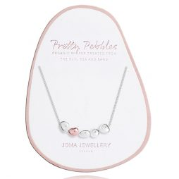 Joma Jewellery Pretty Pebbles Silver Necklace with Rose Gold Element 2640