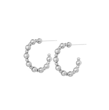 Sence Copenhagen Silver Plated Ball Hoop Earrings