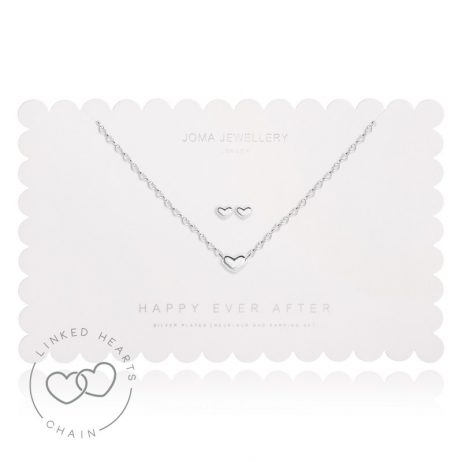 Joma Jewellery Happy Ever After Silver Heart Earrings and Necklace Set 2492