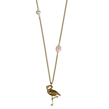 Hultquist Jewellery Flamingo Long Gold Necklace with Freshwater Pearl and Rose Bead
