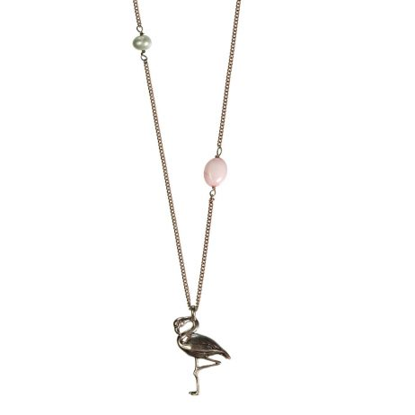 Hultquist Jewellery Flamingo Long Rose Gold Necklace with Freshwater Pearl and Rose Bead