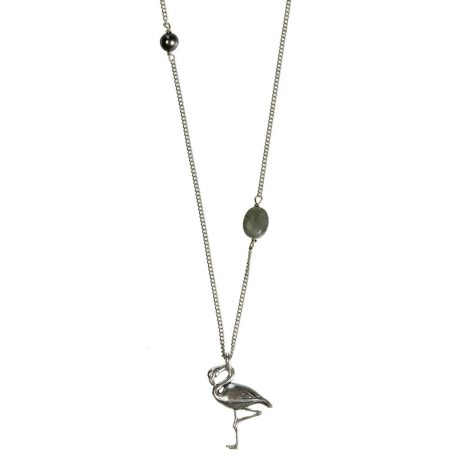 Hultquist Jewellery Flamingo Long Silver Necklace with Freshwater Pearl and Labadorite Bead