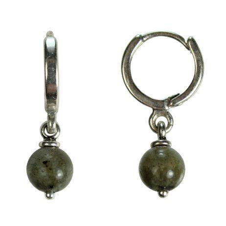 Hultquist Jewellery Labadorite Silver Hoop Earrings Tropical Paradise