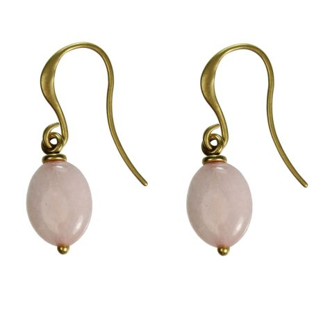 Hultquist Jewellery Gold Hook Earrings with Oval Rose Drop