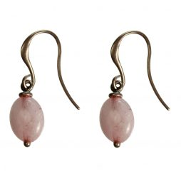 Hultquist Jewellery Rose Gold Hook Earrings with Oval Rose Drop