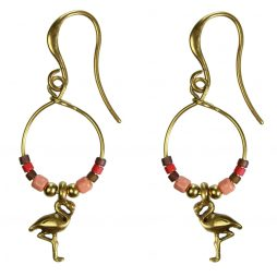 Hultquist Jewellery Flamingo Gold Hoop Earrings with Japanese Coral