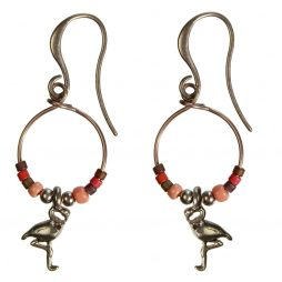 Hultquist Jewellery Flamingo Rose Gold Hoop Earrings with Japanese Coral