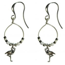 Hultquist Jewellery Flamingo Silver Hoop Earrings with Japanese Ecru and Grey Coral Beads