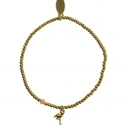 Hultquist Jewellery Flamingo Gold Ball Bracelet with Coral Bead