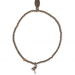 Hultquist Jewellery Flamingo Rose Gold Ball Bracelet with Coral Bead