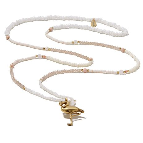 Hultquist Jewellery Flamingo Gold with Freshwater Pearls White and Coral Long Necklace