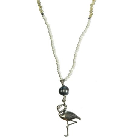 Hultquist Jewellery Flamingo Silver with Ecru Labadorite Freshwater Pearls Long Necklace