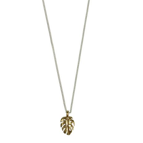 Hultquist Jewellery Gold and Silver Mini Palm Leaf Necklace Tropical Paradise