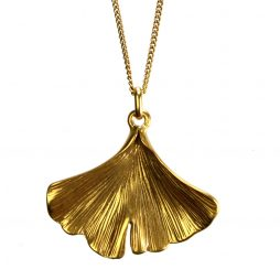Hultquist Jewellery Gold Ginkgo Leaf Pendant Necklace