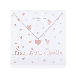 Joma Jewellery Live Love Sparkle Silver Necklace with Rose Gold Heart Pendant 2516