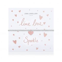 Joma Jewellery Live Love Sparkle Silver Bracelet with Rose Gold Heart Pendant 2519