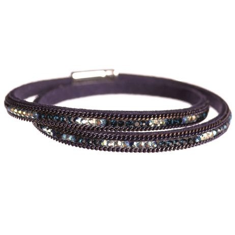 Hot Tomato Jewellery Navy Double Wrap Bracelet with Crystals