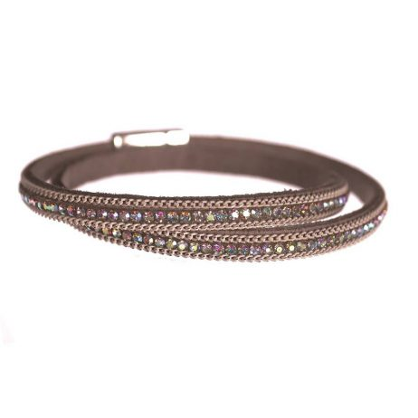 Hot Tomato Jewellery Grey and Ivory Double Wrap Bracelet with Crystals - EOL