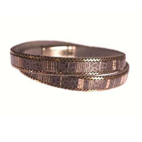 Hot Tomato Jewellery Mocca Grey and Gold Double Wrap Bracelet with Crystals - eol