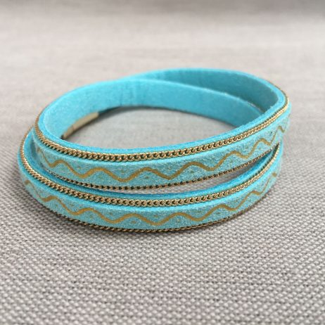 Hot Tomato Jewellery Turquoise and Blue Double Wrap Bracelet