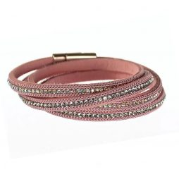 Hot Tomato Jewellery Pink Double Wrap Calamine Bracelet with Crystals