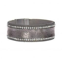 Hot Tomato Jewellery Vintage Style Cuff Bracelet Pewter with Crystals