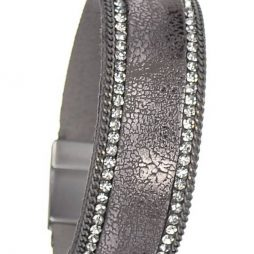 Hot Tomato Jewellery Vintage Style Cuff Bracelet Pewter with Crystals AY061