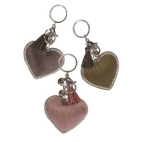 Hot Tomato Faux Fur Key Ring Heart with Crystal Trim
