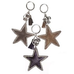 66bdd57b68d9 Hot Tomato Faux Fur Key Ring Star with Crystal Trim