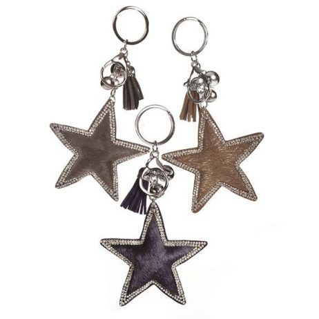 Hot Tomato Faux Fur Key Ring Star with Crystal Trim