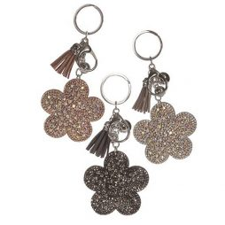 Hot Tomato Crystals Flower Key Ring