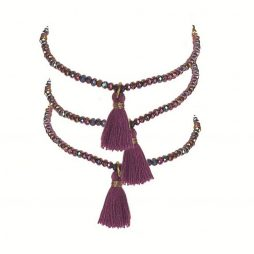 Hot Tomato Jewellery Amethyst Facetted Crystal Bracelet with Tassel