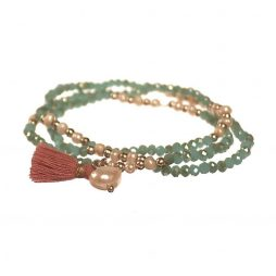 Hot Tomato Jewellery Sage Triple Wrap Crystals Bracelet