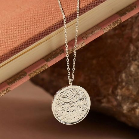 Estella Bartlett Lucky 6 Pence Necklace Silver Plated