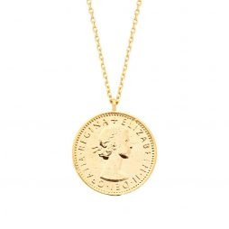 Estella Bartlett Lucky 6 Pence Necklace Gold Plated